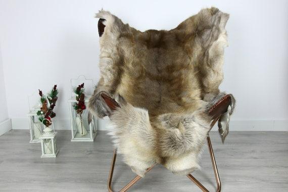 Reindeer Hide   Reindeer Rug   Reindeer Skin   Throw  - Scandinavian Style #GRE14 140x110   Christmas Decor  