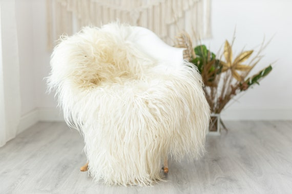 Real Sheepskin Rug Genuine Rare Mongolian Sheepskin Rus - Curly Fur Rug Scandinavian Sheep skin - Ivory Beige Curly Sheepskin #Krecisl2