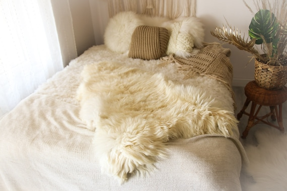 Real Sheepskin Rug Shaggy Rug Chair Cover Sheepskin Throw Sheep Skin White Sheepskin Home Decor Rugs #OCTHER69