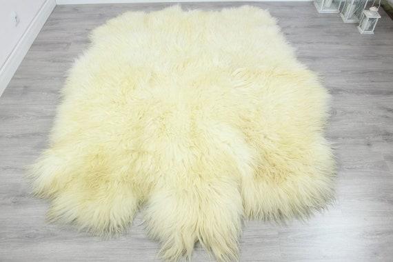 Genuine Natural icelandic creamy white Sheepskin Rug, Giant sheepskin rug, sexto sheepskin rug