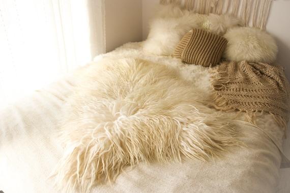 Real Icelandic Sheepskin Rug White Gray Blonde Ash Blonde Blact Tips Long Fur