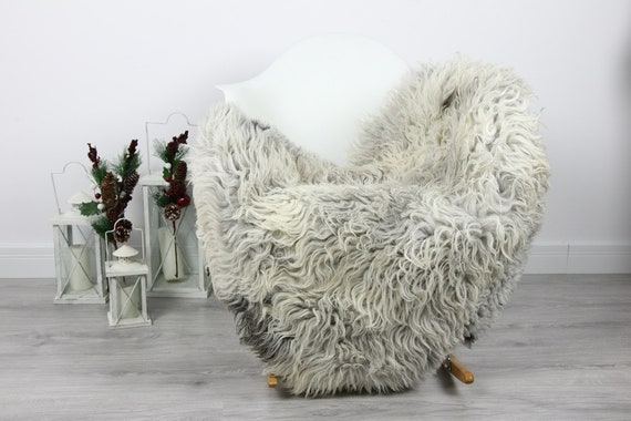 Organic Sheepskin Rug, Real Sheepskin Rug, Curly Sheepskin, Gray Beige Sheepskin Rug Christmas Home #CURLGUT6