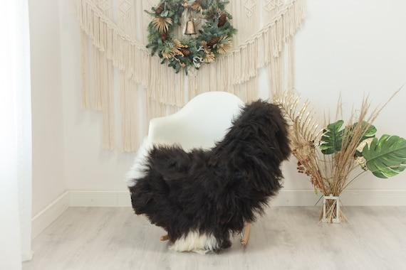 Real Icelandic Sheepskin Rug Scandinavian Decor Sofa Sheepskin throw Chair Cover Natural Sheep Skin Rugs Brown Ivory #Iceland94
