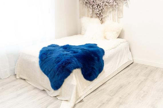 Double Blue Sheepskin Rug | Long rug | Shaggy Rug | Chair Cover | Area Rug | Blue Rug | Carpet | Blue Throw | Sheep Skin