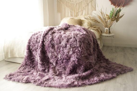 Luxurious Patchwork Toscana Sheepskin Real Fur Throw   Real Fur Blanket   Heather Sheepskin throw   Boho Throw  3FU2