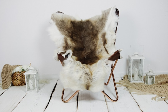 Reindeer Hide | Reindeer Rug | Reindeer Skin | Throw XXL EXTRA LARGE - Scandinavian Style Christmas Decor Brown White Hide #Kre10