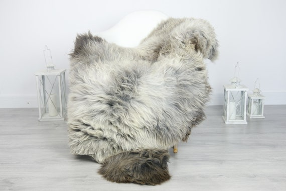 Real Sheepskin Rug Shaggy Rug Chair Cover Sheepskin Throw Sheep Skin Gray Sheepskin Home Decor Rugs #7her32