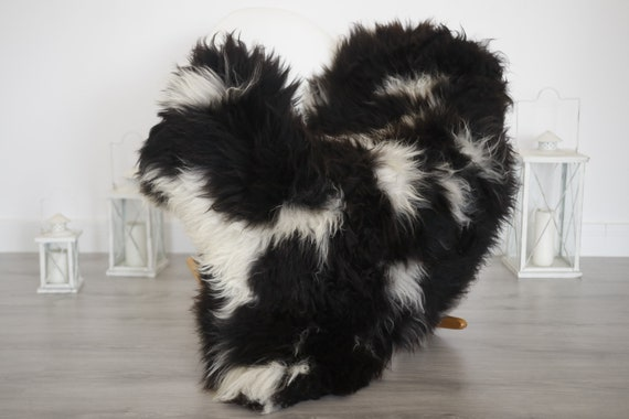 Real Sheepskin Rug Shaggy Rug Chair Cover Sheepskin Throw Sheep Skin Black Sheepskin Home Decor Rugs #6her44