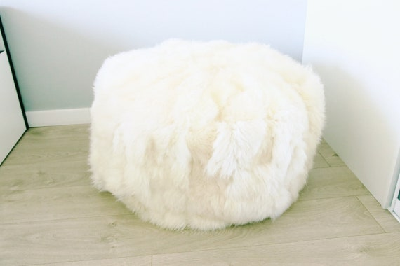 Sheepskin Beanbag White Sheepskin Bean Bag Sheepskin Pouf Etsy Inspiration Sheepskin Pouf Bean Bag