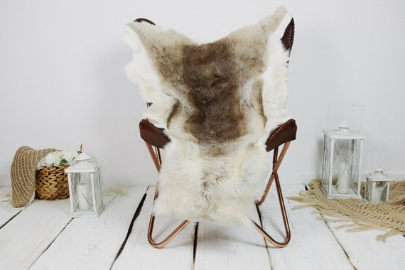 Reindeer Hide | Reindeer Rug | Reindeer Skin | Throw XXL EXTRA LARGE - Scandinavian Style Christmas Decor Brown White Hide #Kre19