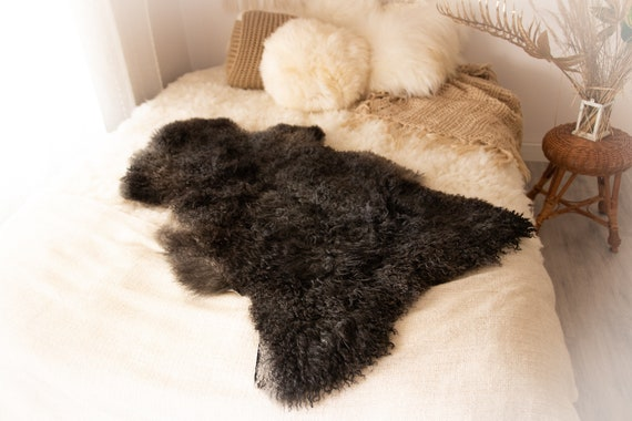Real Sheepskin Rug Genuine Rare Gotland Sheepskin Rus - Curly Fur Rug Scandinavian Sheep skin - Gray Black Sheepskin #KWAGOT3