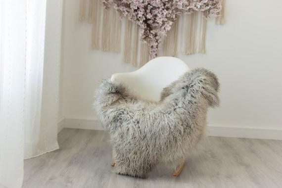 Real Sheepskin Rug Genuine Rare Gotland Sheepskin Rus - Curly Fur Rug Scandinavian Sheep skin - Curly Rug Gray Sheepskin #gut48