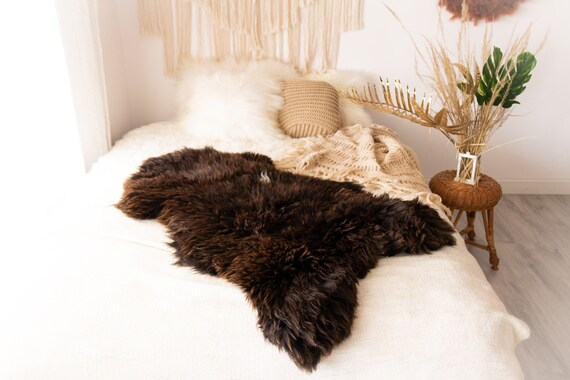Real Sheepskin Rug Shaggy Rug Chair Cover Sheepskin Throw Sheep Skin Brown Sheepskin Scandinavian Home Decor Rugs #Nuher11