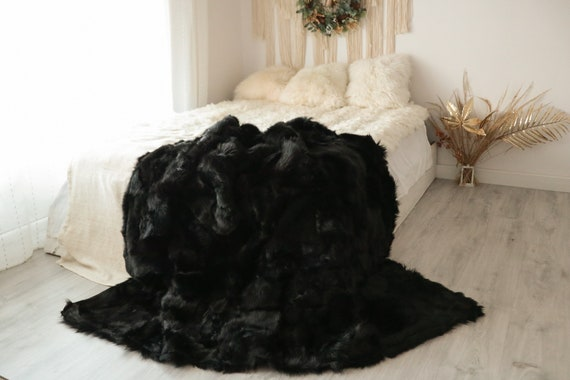 Luxurious Patchwork Toscana Sheepskin Real Fur Throw | Real Fur Blanket | Sheepskin throw | Boho Throw  | FUFU12
