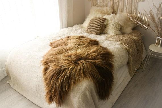 Real Icelandic Sheepskin Rug Scandinavian Decor Sofa Sheepskin throw Chair Cover Natural Sheep Skin Rugs Brown Fur Rug #Islbeau9