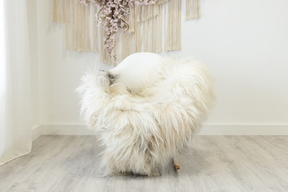 Real Icelandic Sheepskin Rug Scandinavian Home Decor Sofa Sheepskin throw Chair Cover Natural Sheep Skin Rugs Ivory Black #Iceland329