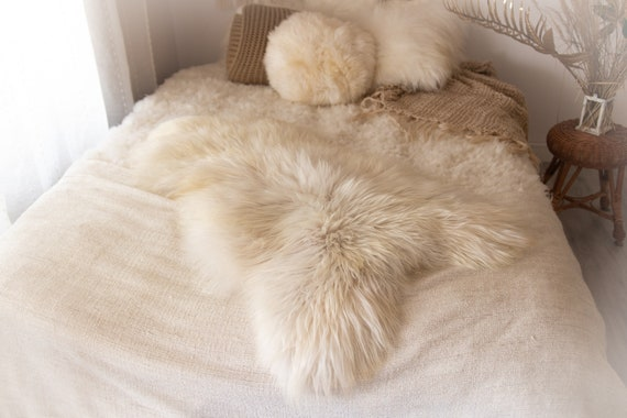 Real Icelandic Sheepskin Rug Scandinavian Decor Sofa Sheepskin throw Chair Cover Natural Sheep Skin Rugs Beige White Fur Rug #KWAISL11