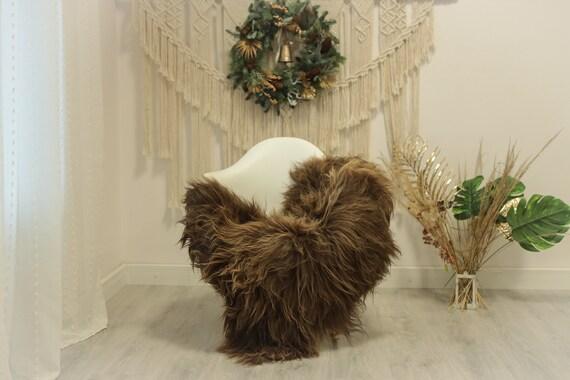Real Icelandic Sheepskin Rug Scandinavian Decor Sofa Sheepskin throw Chair Cover Natural Sheep Skin Rugs Brown #Iceland85
