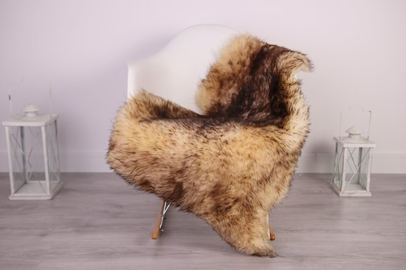 Real Sheepskin Rug Shaggy Rug Chair Cover Sheepskin Throw Sheep Skin Brown Sheepskin Home Decor Rugs #HERDZ23