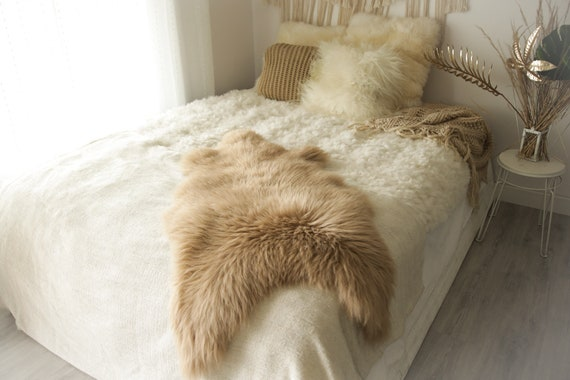 Real Sheepskin Rug Shaggy Rug Chair Cover Sheepskin Throw Sheep Skin Champagne Sheepskin Home Decor Rugs #0Margot7
