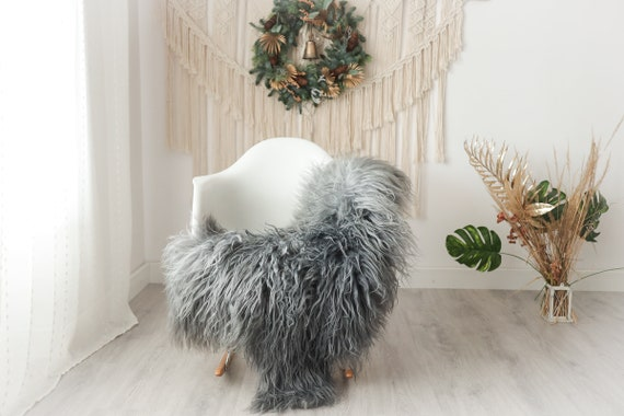 Real Icelandic Sheepskin Rug Scandinavian Decor Sofa Sheepskin throw Chair Cover Natural Sheep Skin Rugs Gray #Iceland26