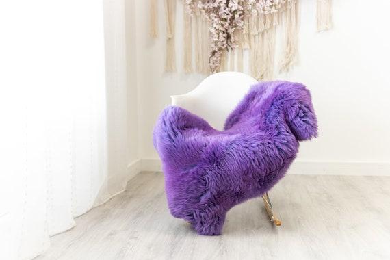Genuine Natural Purple Sheepskin Rug Sheepskin Throw  Scandinavian Style   Scandinavian Rug   Purple Sheepskin
