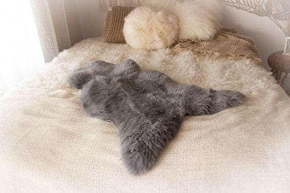Real Sheepskin Rug Shaggy Rug Chair Cover Sheepskin Throw Sheep Skin Gray dyed Sheepskin Home Decor Rugs #KWAHER11