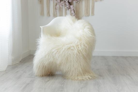 Real Sheepskin Rug Genuine Rare Mongolian Sheepskin Rug - Curly Fur Rug Scandinavian Sheep skin - Creamy White Sheepskin #G4