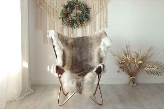 Reindeer Hide | Reindeer Rug | Reindeer Skin | Throw XXL EXTRA LARGE - Scandinavian Style Christmas Decor Brown White Hide #Wre21