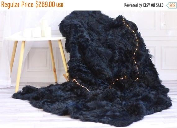 Wonderful ON SALE Sheepskin Throw | Navy Blue Bed Throw | Navy Fur Throw  UX56