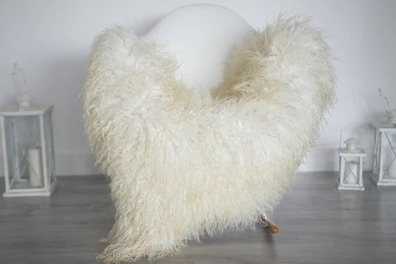 Real Sheepskin Curly Rug Genuine Rare Mongolian Sheepskin Rug - Curly Fur Rug - Natural Sheepskin - Ivory Sheepskin #1got2