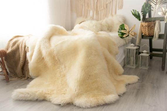 Real Fur Sheepskin Throw | Super Large | Sheepskin Rug | Boho Blanket | Merino
