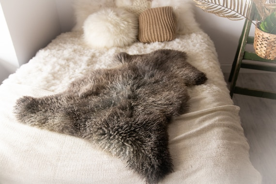 Real Sheepskin Rug Genuine Rare Gotland Sheepskin Rus - Curly Fur Rug Scandinavian Sheep skin - Gray Brown Sheepskin #Bohgot8
