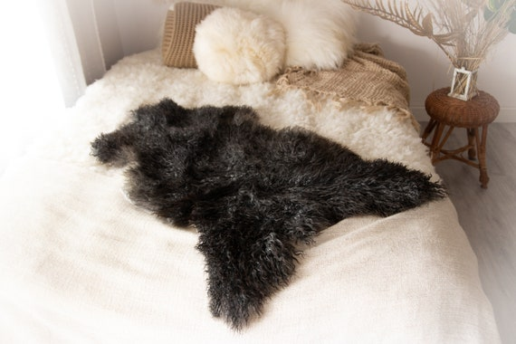 Real Sheepskin Rug Genuine Rare Gotland Sheepskin Rus - Curly Fur Rug Scandinavian Sheep skin - Gray Black Sheepskin #KWAGOT10