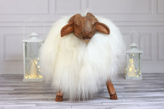 ON SALE Sheepskin Bench | Nursery decor | Handmade wooden Sheep bench | Sheepskin Stool | Sheep sculpture | Rustic Stool |