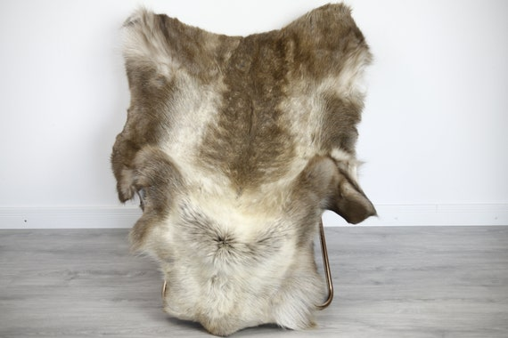 Reindeer Hide | Reindeer Rug | Reindeer Skin | Throw XXL EXTRA LARGE - Scandinavian Style Christmas Decor Brown White Hide #Ire32