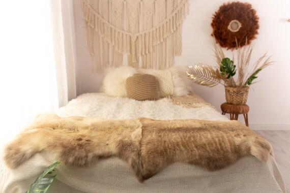 Double Sheepskin Rug Long rug Sheepskin Throw Chair Cover Runner Rug  Carpet  Brown White Sheepskin Sheep Skin Rug | POL2
