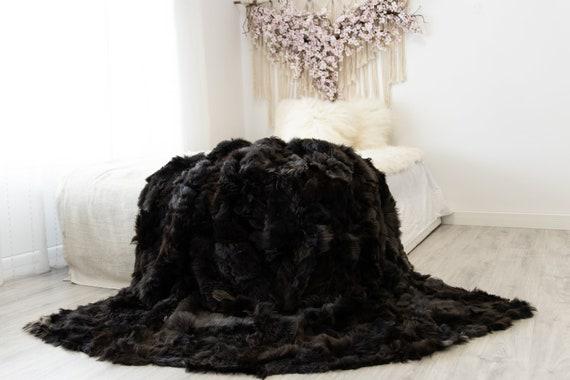 Luxurious Patchwork Toscana Sheepskin Real Fur Throw | Real Fur Blanket | Sheepskin throw | Sheepskin Blanket | Boho Throw |FuFu52