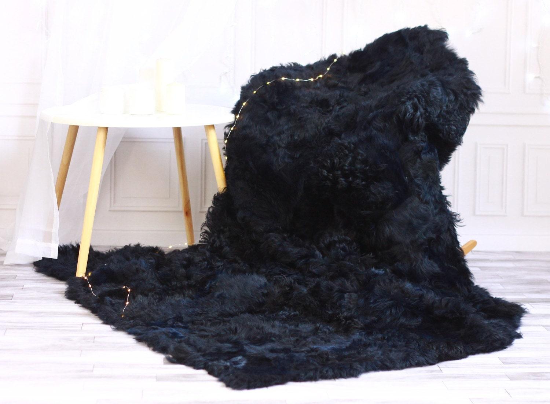 Famous ON SALE Sheepskin Throw | Navy Blue Bed Throw | Navy Fur Throw  WX32