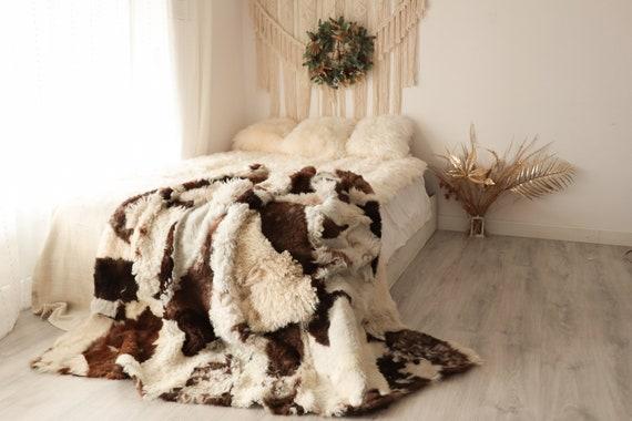 Luxurious Patchwork Toscana Sheepskin Real Fur Throw | Real Fur Blanket | Sheepskin throw | Boho Throw  | FUFU8