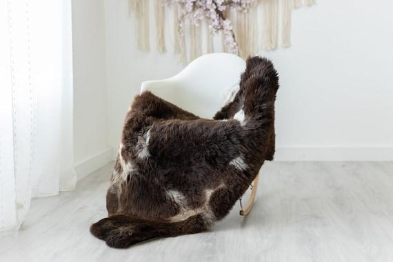 Real Sheepskin Rug Shaggy Rug Chair Cover Scandinavian Home Sheepskin Throw Sheep Skin Brown White Sheepskin Home Decor Rugs #herdwik230