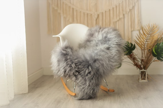Real Icelandic Sheepskin Rug Scandinavian Decor Sofa Sheepskin throw Chair Cover Natural Sheep Skin Rugs gray dyed #Iceland19