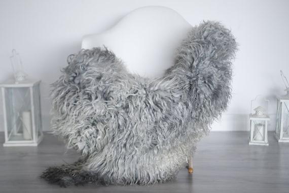 Real Sheepskin Rug Genuine Rare Gotland Sheepskin Rus - Curly Fur Rug Scandinavian Sheepvskin - Gray Sheepskin #1got8