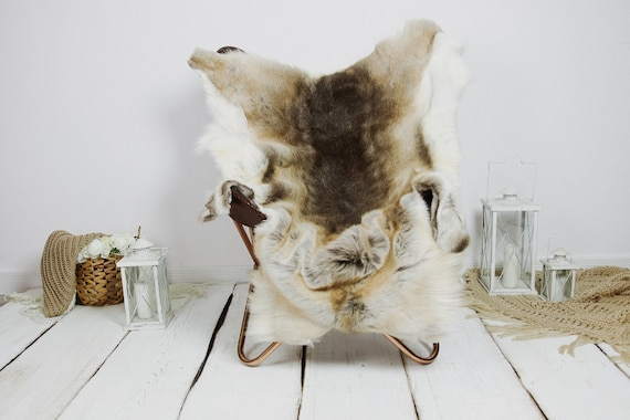 Reindeer Hide | Reindeer Rug | Reindeer Skin | Throw XXL EXTRA LARGE - Scandinavian Style Christmas Decor Brown White Hide #Kre17