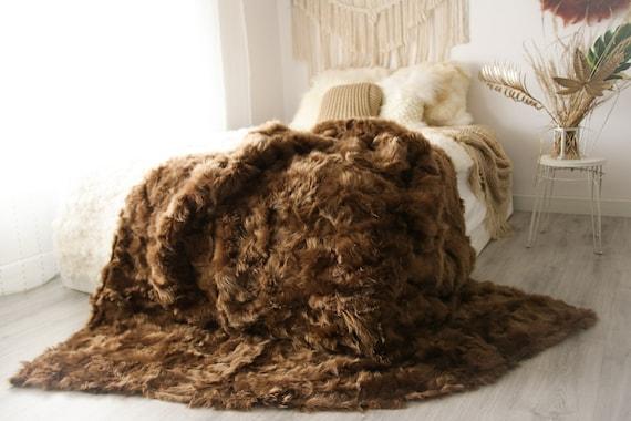 Luxurious Patchwork Toscana Sheepskin Real Fur Throw   Real Fur Blanket   Sheepskin throw   Boho Throw  2FU15