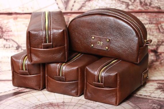 HANDMADE Personalized Men's Leather Toiletry Case Dopp Kit Shaving Bag OOAK Gift For Him, Gift for Father, Gift for Grandpa, Gift for Man