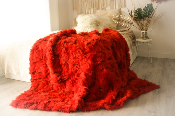Luxurious Patchwork Toscana Sheepskin Real Fur Throw | Real Fur Blanket | n Sheepskin throw |  Red Boho Throw |3FU6