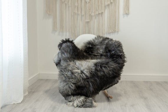 Real Sheepskin Rug Shaggy Rug Chair Cover Scandinavian Home Sheepskin Throw Sheep Skin Black Gray Sheepskin Home Decor Rugs #Gut78