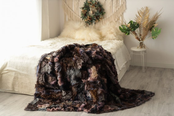 Luxurious Patchwork Toscana Sheepskin Real Fur Throw   Real Fur Blanket   Sheepskin throw   Boho Throw   5fu6