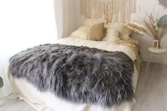 Quattro Sheepskin Rug | Large Sheepskin | Gray Sheepskin | Sheepskin Throw | Icelandic Sheepskin Rug | #Grayszyt